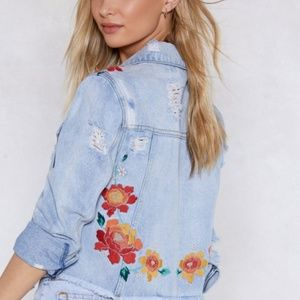 Light Wash Denim Jacket with Flower Embroidery